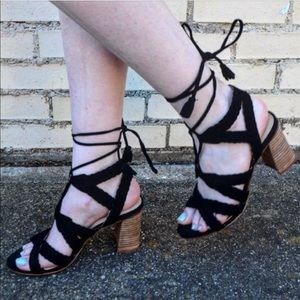 Leather Woven Ghillie LaceUp Gladiator Heel Sandal